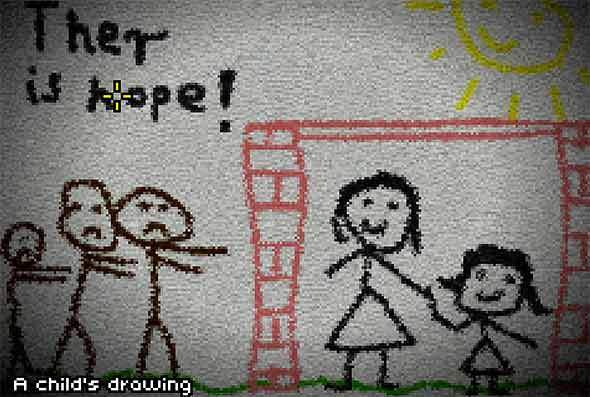 image of Don't Escape 2 - The Outbreak: children graffiti