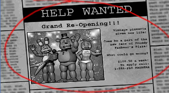 image of Five Nights At Freddy's 2: job position for night guard - grand opening!