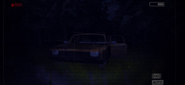 image of Slender Flashlight: abandoned car in the woods