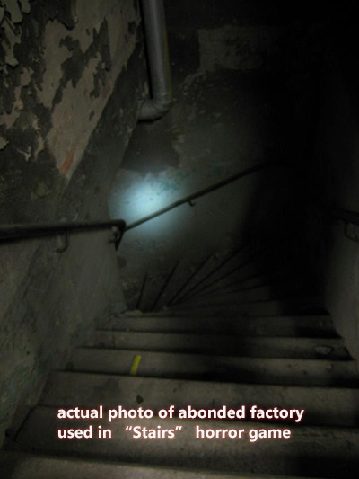 image of Stairs Horror Survival game: actual photo of abandoned factory used in game